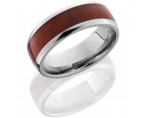 hw8d15redheart polish - Titanium Domed Band with Honduras Redheart Wood inlay