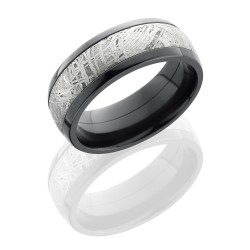 z8d15 meteorite polish - Zirconium Domed Band with Meteorite Inlay
