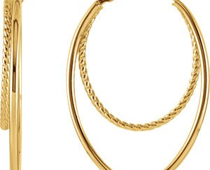 sts86059 - 14K Yellow Oval Hoop Earrings