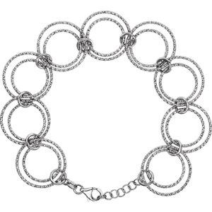 """stsch882 - Sterling Silver Adjustable Circle 8"""" Bracelet"""