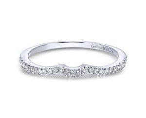 Gabriel 14k White Gold Contemporary Curved Wedding BandWB8129W44JJ 11 - Curved Diamond Wedding Band