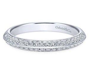 Gabriel 14k White Gold Contemporary Straight Wedding BandWB8296W44JJ 11 - Straight Diamond Wedding Band