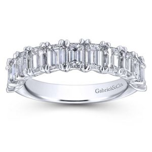 Gabriel 14k White Gold Emerald Cut 11 Stone Diamond Anniversary Band AN12383W43JJ 5 - 14k White Gold Emerald Cut 11 Stone Diamond Anniversary Band
