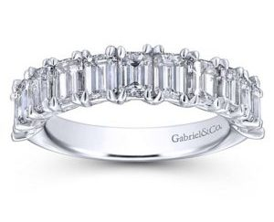 Gabriel 14k White Gold Emerald Cut 11 Stone Diamond Anniversary Band AN12383W43JJ 5 - 14k White Gold Emerald Cut 11 Stone Diamond Anniversary Band
