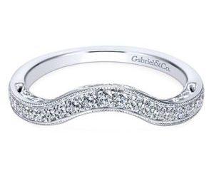 Gabriel 14k White Gold Victorian Curved Wedding BandWB7293W44JJ 11 - Vintage 14k White Gold Curved Wedding Band