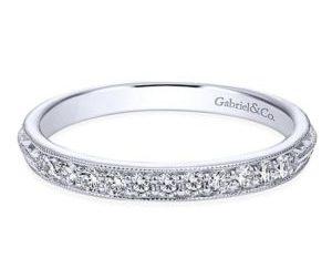 Gabriel 14k White Gold Victorian Straight Wedding BandWB6707W44JJ 11 - Vintage 14k White Gold Round Straight Diamond Wedding Band