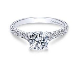 Gabriel Erica 14k White Gold Round Straight Engagement RingER7225W44JJ 11 - Round Straight Diamond Engagement Ring