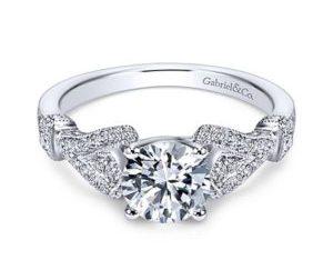 Gabriel Lucille 14k White Gold Round Straight Engagement RingER7531W44JJ 11 - 14k Round Curved Diamond Wedding Band