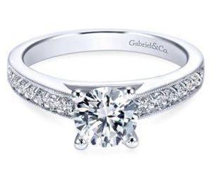 Gabriel Tess 14k White Gold Round Straight Engagement RingER3858W44JJ 11 - Vintage 14k White Gold Round Straight Diamond Engagement Ring