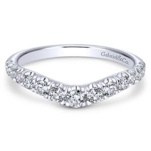 Gabriel 14k White Gold Contemporary Curved Anniversary BandAN10958W44JJ 11 - 14k White Gold Round Curved Diamond Anniversary Band