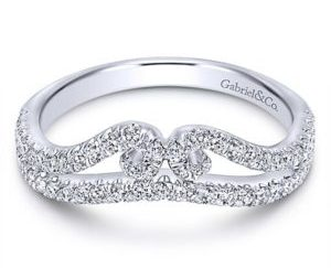 Gabriel 14k White Gold Contemporary Curved Anniversary BandAN11004W44JJ 11 - 14k White Gold Round Curved Diamond Anniversary Band