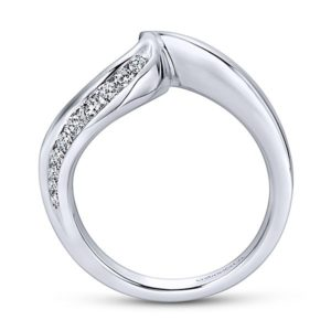Gabriel 14k White Gold Contemporary Curved Wedding BandWB4309W44JJ 21 - 14k White Gold Curved Diamond Wedding Band