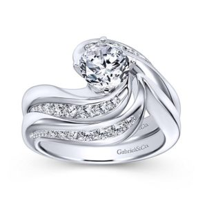 Gabriel 14k White Gold Contemporary Curved Wedding BandWB4309W44JJ 41 - 14k White Gold Curved Diamond Wedding Band