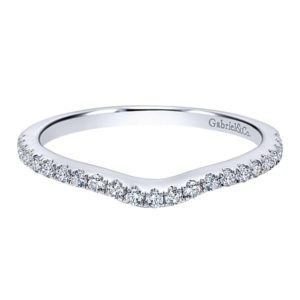 Gabriel 14k White Gold Contemporary Curved Wedding BandWB5375W44JJ 11 - 14k White Gold Round Curved Diamond Wedding Band