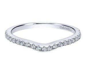 Gabriel 14k White Gold Contemporary Curved Wedding BandWB5375W44JJ 11 - 14k White Gold Round Curved Diamond Wedding Band
