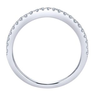 Gabriel 14k White Gold Contemporary Curved Wedding BandWB5375W44JJ 21 - 14k White Gold Round Curved Diamond Wedding Band