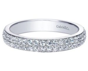 Gabriel 14k White Gold Contemporary Fancy Anniversary BandAN7662W44JJ 11 - 14k White Gold Round Fancy Diamond Anniversary Band