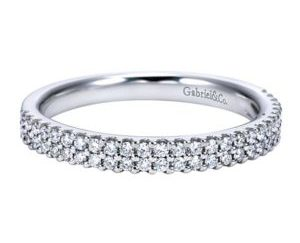 Gabriel 14k White Gold Contemporary Fancy Anniversary BandAN7748W44JJ 11 - 14k White Gold Round Fancy Diamond Anniversary Band