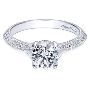 Gabriel Arlo 14k White Gold Round Split Shank Engagement RingER6286W44JJ 11 - 14k White Gold Round Split Shank Diamond Engagement Ring