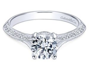Gabriel Arlo 14k White Gold Round Split Shank Engagement RingER6286W44JJ 11 - 14k White Gold Curved Diamond Wedding Band