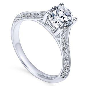 Gabriel Arlo 14k White Gold Round Split Shank Engagement RingER6286W44JJ 31 - 14k White Gold Round Split Shank Diamond Engagement Ring
