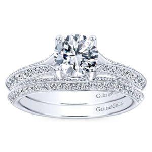 Gabriel Arlo 14k White Gold Round Split Shank Engagement RingER6286W44JJ 41 - 14k White Gold Round Split Shank Diamond Engagement Ring