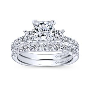 Gabriel Emerson 14k White Gold Princess Cut 3 Stones Engagement RingER4020W44JJ 41 - 14k White Gold Princess Cut 3 Stones Diamond Engagement Ring
