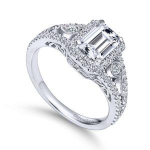 Gabriel Marlena 14k White Gold Emerald Cut Halo Engagement RingER7740W44JJ 31 - 14k White Gold Emerald Cut Halo Diamond Engagement Ring