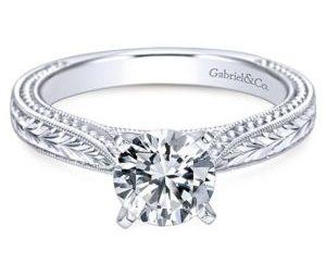 Gabriel Maura 14k White Gold Round Solitaire Engagement RingER6636W4JJJ 11 - 14k White Gold Round Split Shank Diamond Engagement Ring