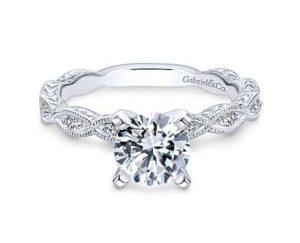 Gabriel Sadie 14k White Gold Round Straight Engagement RingER4122W44JJ 11 - Vintage 14k White Gold Round Straight Diamond Engagement Ring