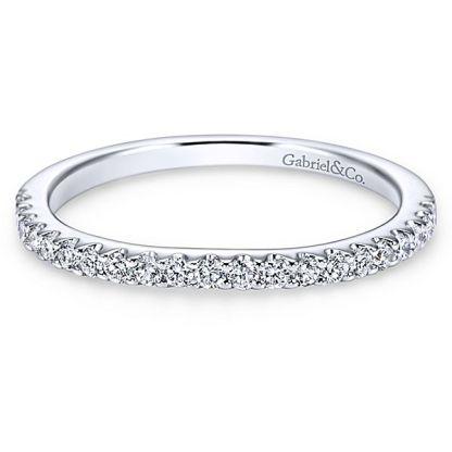 Gabriel 14k White Gold Contemporary Curved Wedding BandWB7482W44JJ 11 - 14k White Gold Curved Diamond