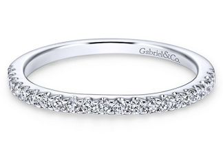 Gabriel 14k White Gold Contemporary Curved Wedding BandWB7482W44JJ 11 - 14k White Gold Curved Diamond