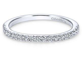 Gabriel 14k White Gold Contemporary Curved Wedding BandWB7482W44JJ 11 - 14k White Gold Round 3 Stones Halo Diamond