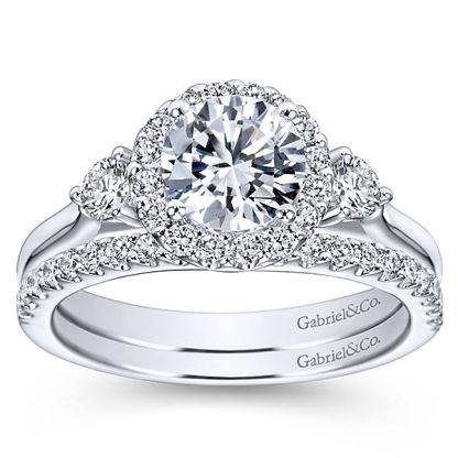 Gabriel 14k White Gold Contemporary Curved Wedding BandWB7482W44JJ 41 - 14k White Gold Curved Diamond