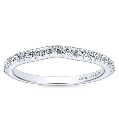 Gabriel 14k White Gold Contemporary Curved Wedding BandWB8152W44JJ 51 - 14k White Gold Round Curved Diamond