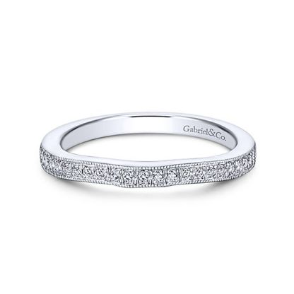 Gabriel 14k White Gold Contemporary Straight Wedding BandWB6389W44JJ 11 - 14k White Gold Straight Diamond Wedding Band