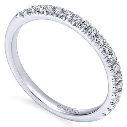 Gabriel 14k White Gold Contemporary Straight Wedding BandWB6872W44JJ 31 - 14k White Gold Round Straight Diamond