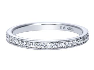 Gabriel 14k White Gold Contemporary Straight Wedding BandWB7811W44JJ 11 - 14k White Gold Straight Diamond