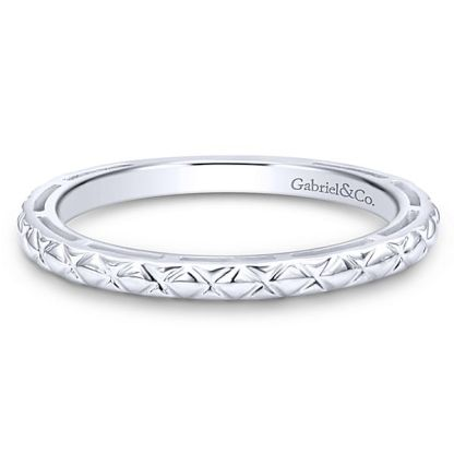 Gabriel 14k White Gold Stackable Ladies RingLR4583W4JJJ 11 - 14k White Gold Stackable Ladies Ring