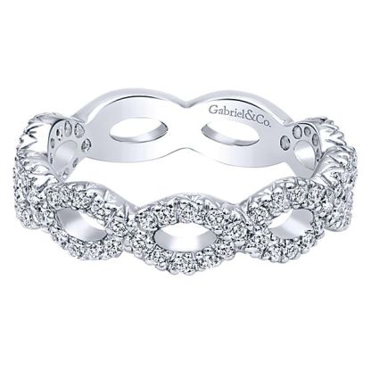 Gabriel 14k White Gold Stackable Ladies RingLR4589W45JJ 11 1 - 14k White Gold Stackable Diamond Ladies' Ring