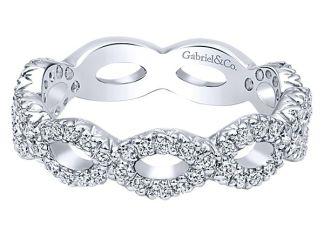 Gabriel 14k White Gold Stackable Ladies RingLR4589W45JJ 11 1 - 14k White Gold Curved Diamond Wedding Band