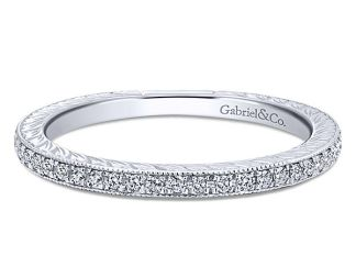 Gabriel 14k White Gold Stackable Ladies RingLR4793W45JJ 11 - 14k Yellow Gold Straight Diamond Wedding Band