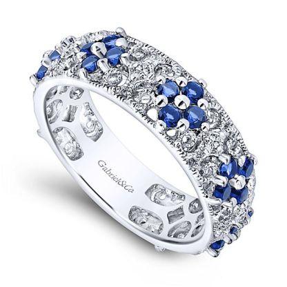 Gabriel 14k White Gold Stackable Ladies RingLR4850W45SA 31 - 14k White Gold Stackable Diamond A Quality Sapphire Ladies' Ring