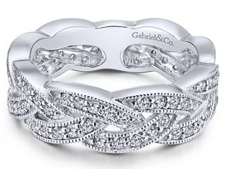 Gabriel 14k White Gold Stackable Ladies RingLR5673W45JJ 11 - 14k White Gold Stackable Ladies' Ring