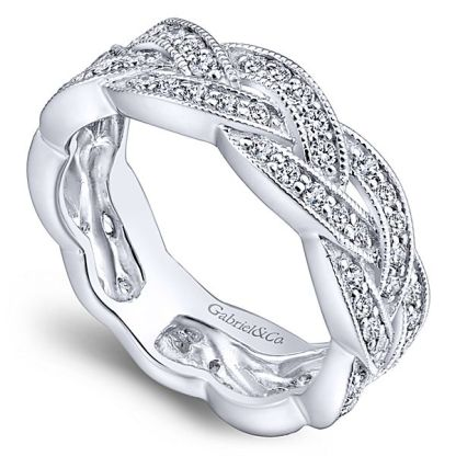 Gabriel 14k White Gold Stackable Ladies RingLR5673W45JJ 31 - 14k White Gold Stackable Diamond Ladies' Ring