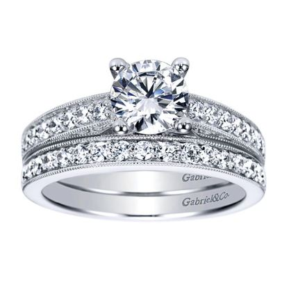 Gabriel 14k White Gold Victorian Curved Wedding BandWB3858W44JJ 41 - Vintage 14k White Gold Round Curved Diamond Wedding Band