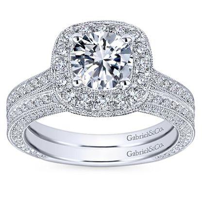 Gabriel 14k White Gold Victorian Straight Wedding BandWB7256W44JJ 41 - Vintage 14k White Gold Round Straight Diamond