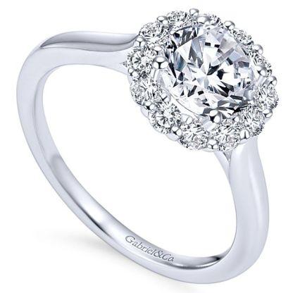 Gabriel Althea 14k White Gold Round Halo Engagement RingER7498W44JJ 31 - 14k White Gold Round Halo Diamond