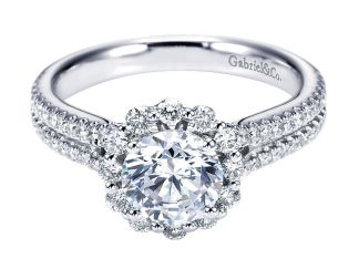 Gabriel Dixie 14k White Gold Round Halo Engagement RingER6710W44JJ 11 - 14k White Gold Round Halo Diamond