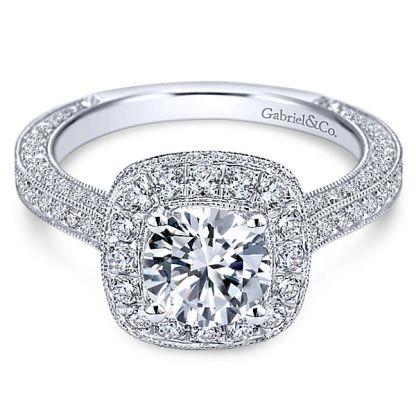 Gabriel Mariah 14k White Gold Round Halo Engagement RingER7256W44JJ 11 - Vintage 14k White Gold Round Halo Diamond